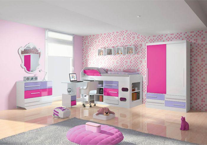 Jugendzimmer Mädchen Modern Spiegel Mit Schrank Rosa Hocker Bett Unterschränken