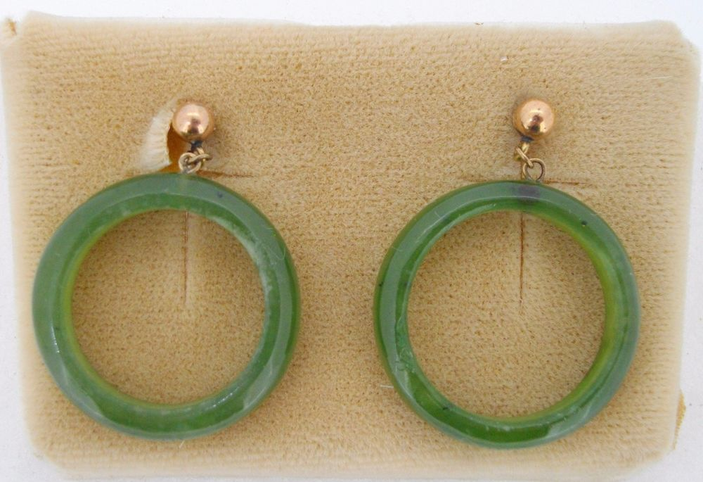 Earrings Jade hoops green dangling from gold ball 14k yellow gold post and backs #Cultra #Dangle