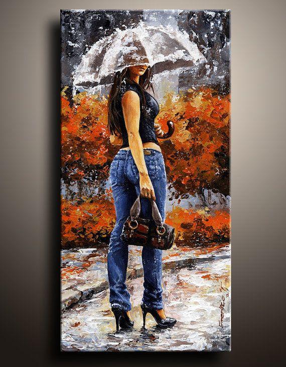 59e1b81814643 Canvas Print of My City Life Acrylic Painting Rainy Day Woman of New ...
