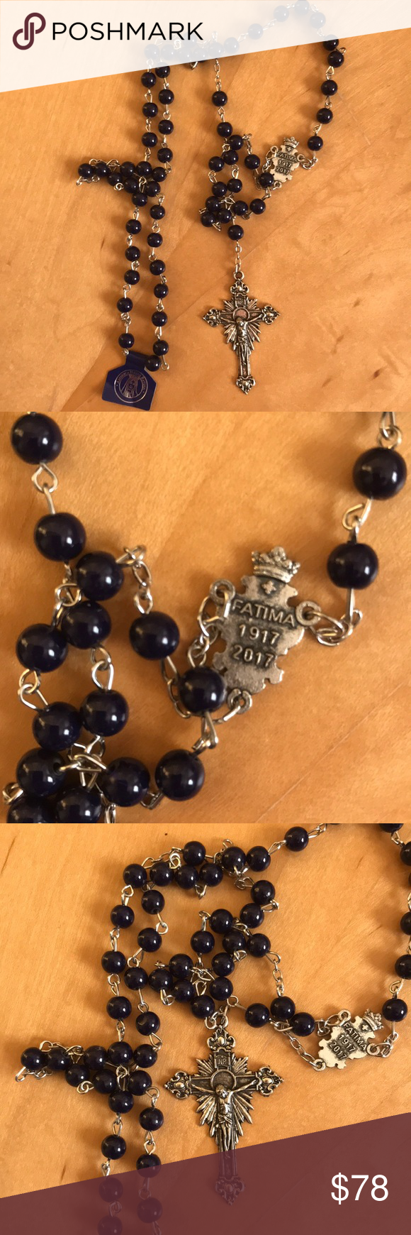 Fatima 100 years anniversary prayer nwt Silver tone chain with navy blue beads,1917-2017 fatima rosary Jewelry Necklaces #rosaryjewelry