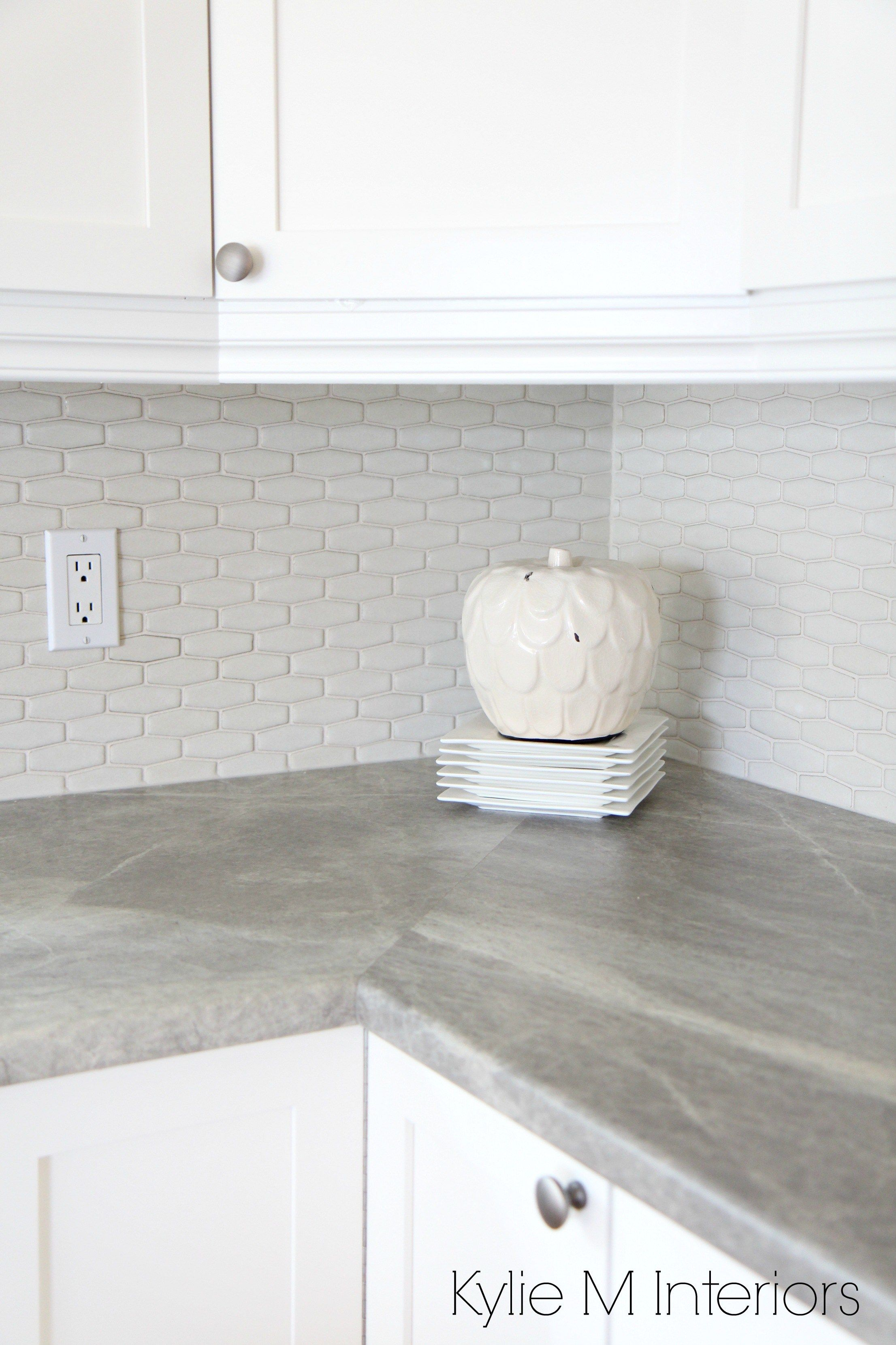 Hexagon Shape Subway Tile Backsplash Soapstone Sequoia Countertops By Formica And Maple Shaker Cabine Kitchen Remodel Countertops Countertops Grey Countertops