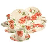 Creatable 30 Piece Stoneware Evangeline Combo Service Dinnerware Set £80. Very large almost realistic roses