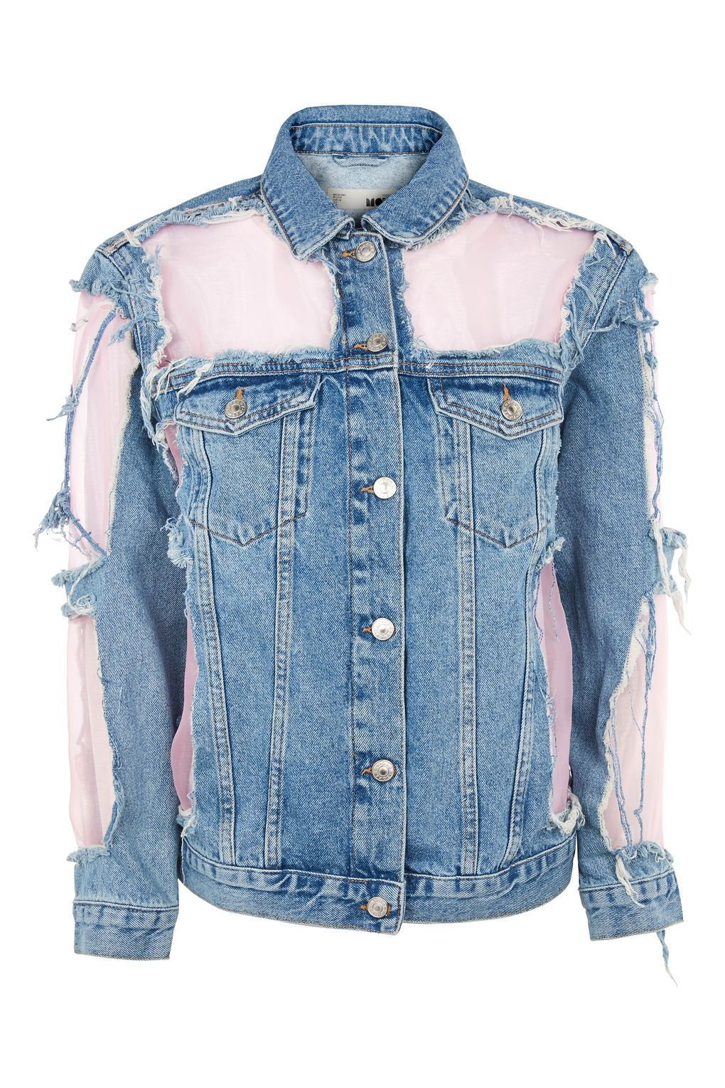 MOTO Pink Organza Jacket Pink denim jacket, Denim coat
