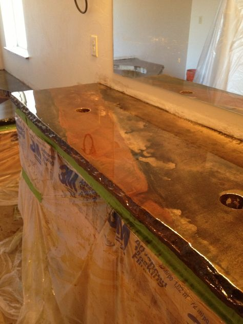 Concrete Brown Stained Countertops   Use Concrete Wet Sealer Look Over The  Top Of It
