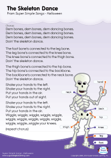 lyrics poster for the skeleton dance halloween song from super simple learning kidssongs - Dance Halloween Songs