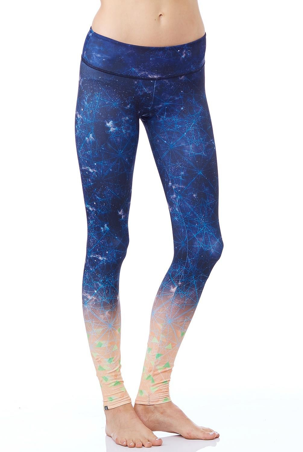 4f625a4f36047 Onzie Time Traveler Graphic Legging is perfect for hot yoga. Featuring a  cool celestial pattern and ombre leg effect. Available at evolvefitwear.com