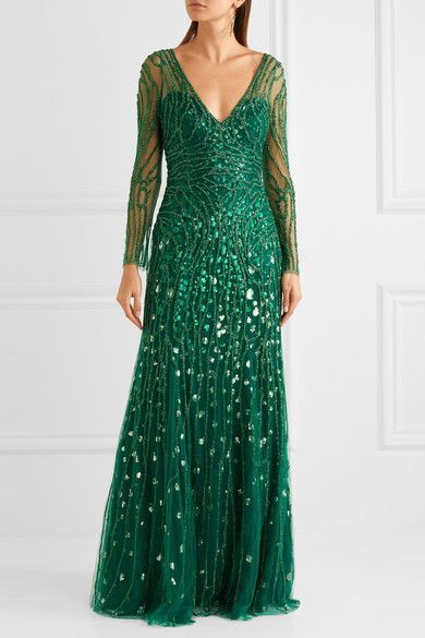 Embellished Tulle Gown - Forest green Jenny Packham Clearance Huge Surprise Excellent Cheap For Cheap Ty8KZ