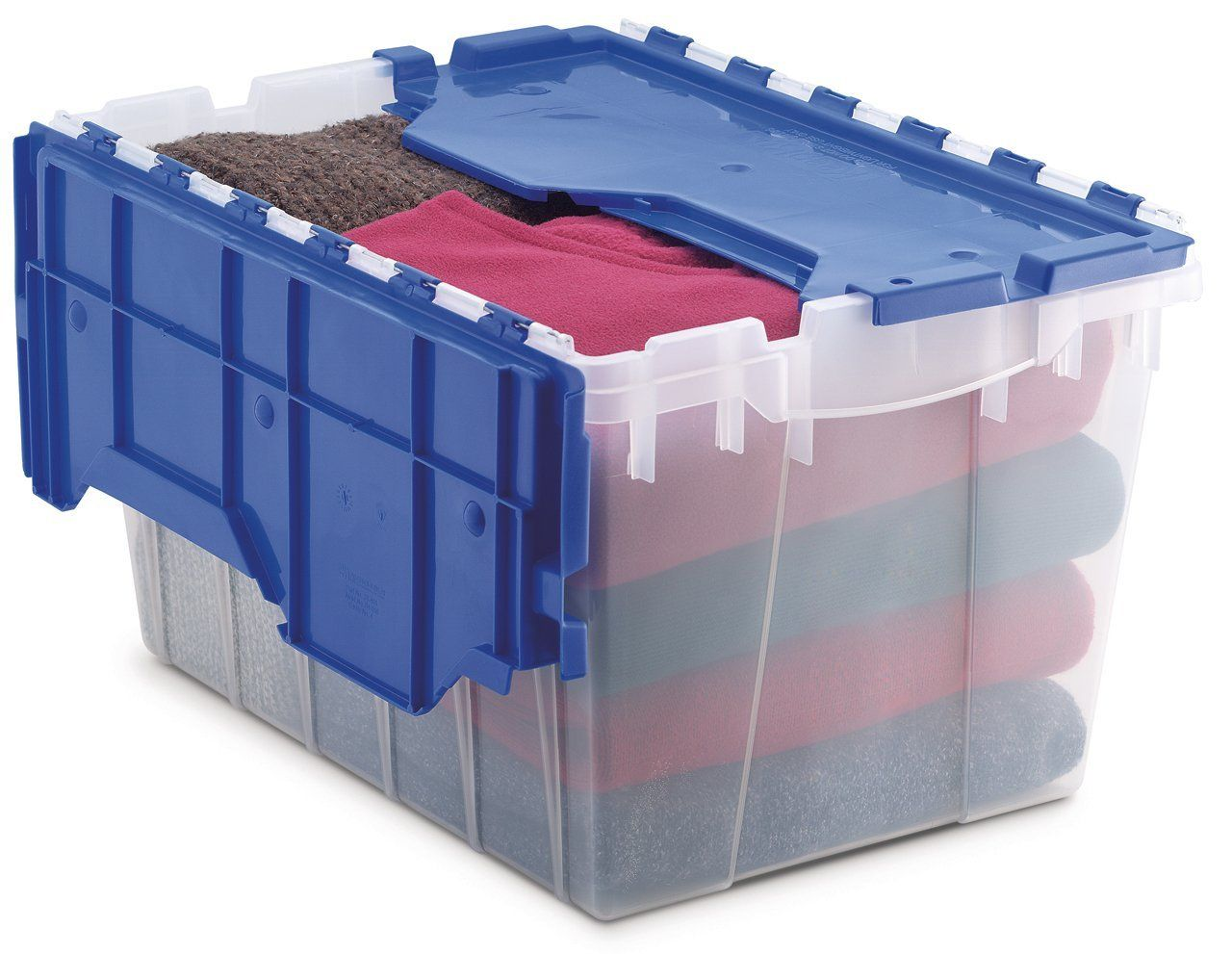 Akro Mils 66486 Cldbl 12 Gallon Plastic Storage Keepbox With Attached Lid 21 1 2 Inch By 15 Inc Plastic Container Storage Plastic Storage Plastic Storage Bins