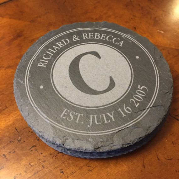 Personalized engraved slate coasters to celebrate the couples special day. These uniquely designed slate coasters are a perfect way to make your gift
