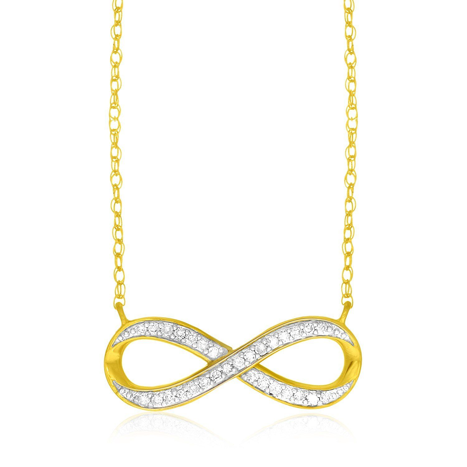 infinity pendant chains half small gold pave plated az sterling silver figure necklace cz bling jewelry pfs