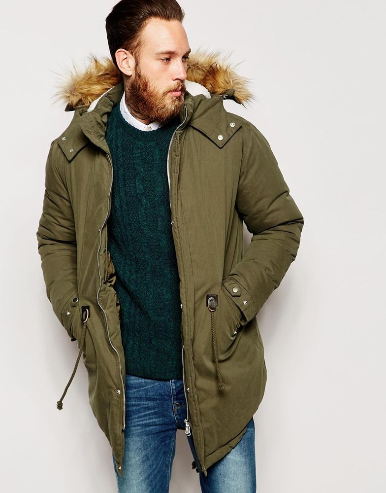 ASOS Fishtail Parka/Jacket With Faux Shearling Hood In Khaki XS ...