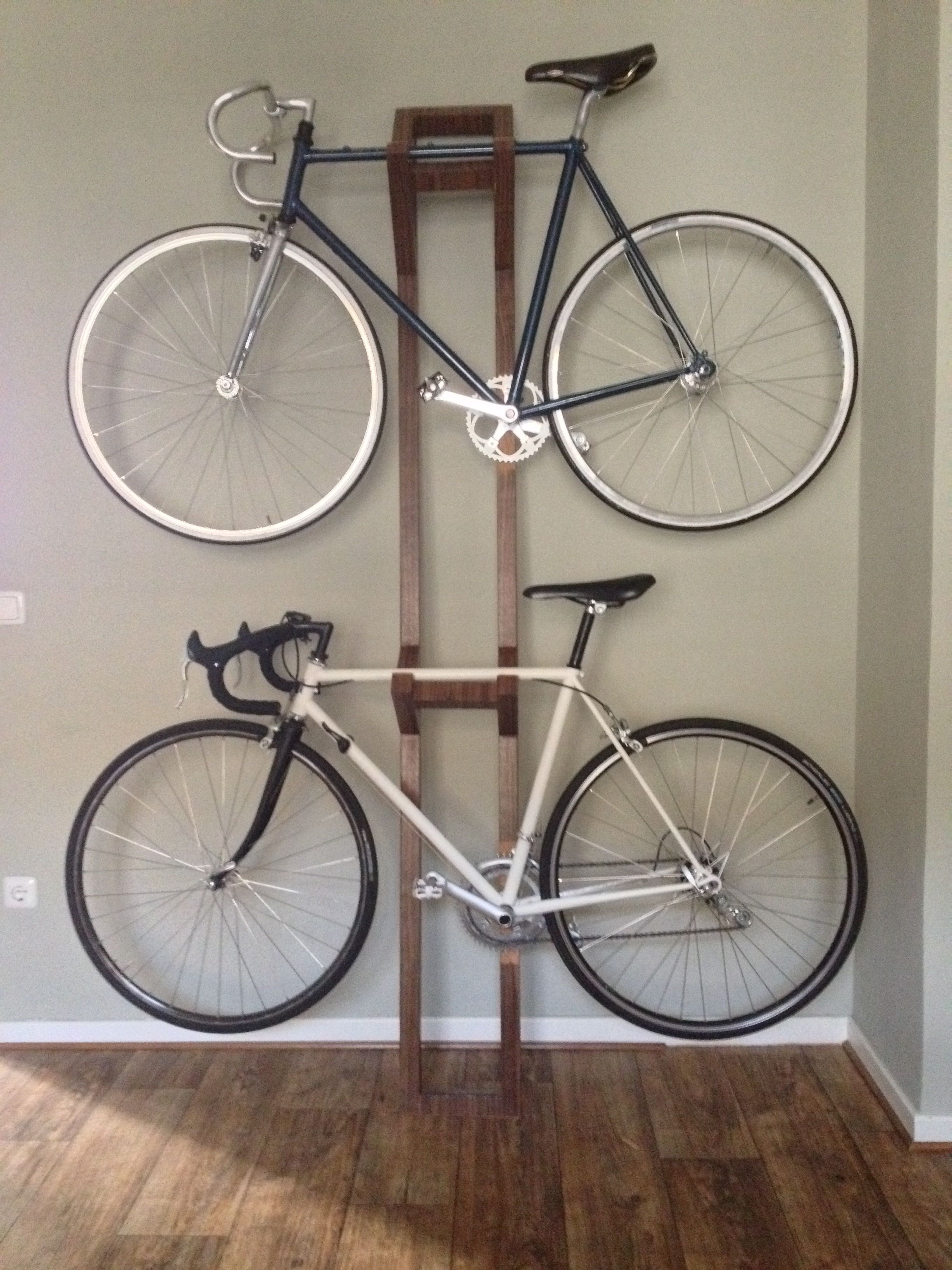 Look jeremy s bicycle rack apartment therapy - Handmade Bike Hanger Ii