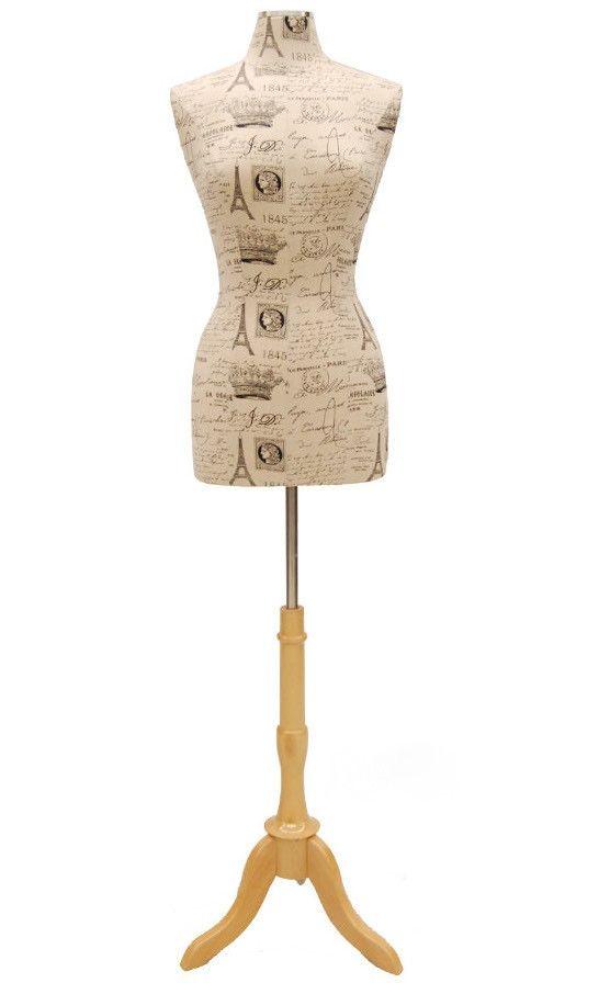 Paris Pattern Dress Form w/ Natural Wood Tripod Base | Female ...