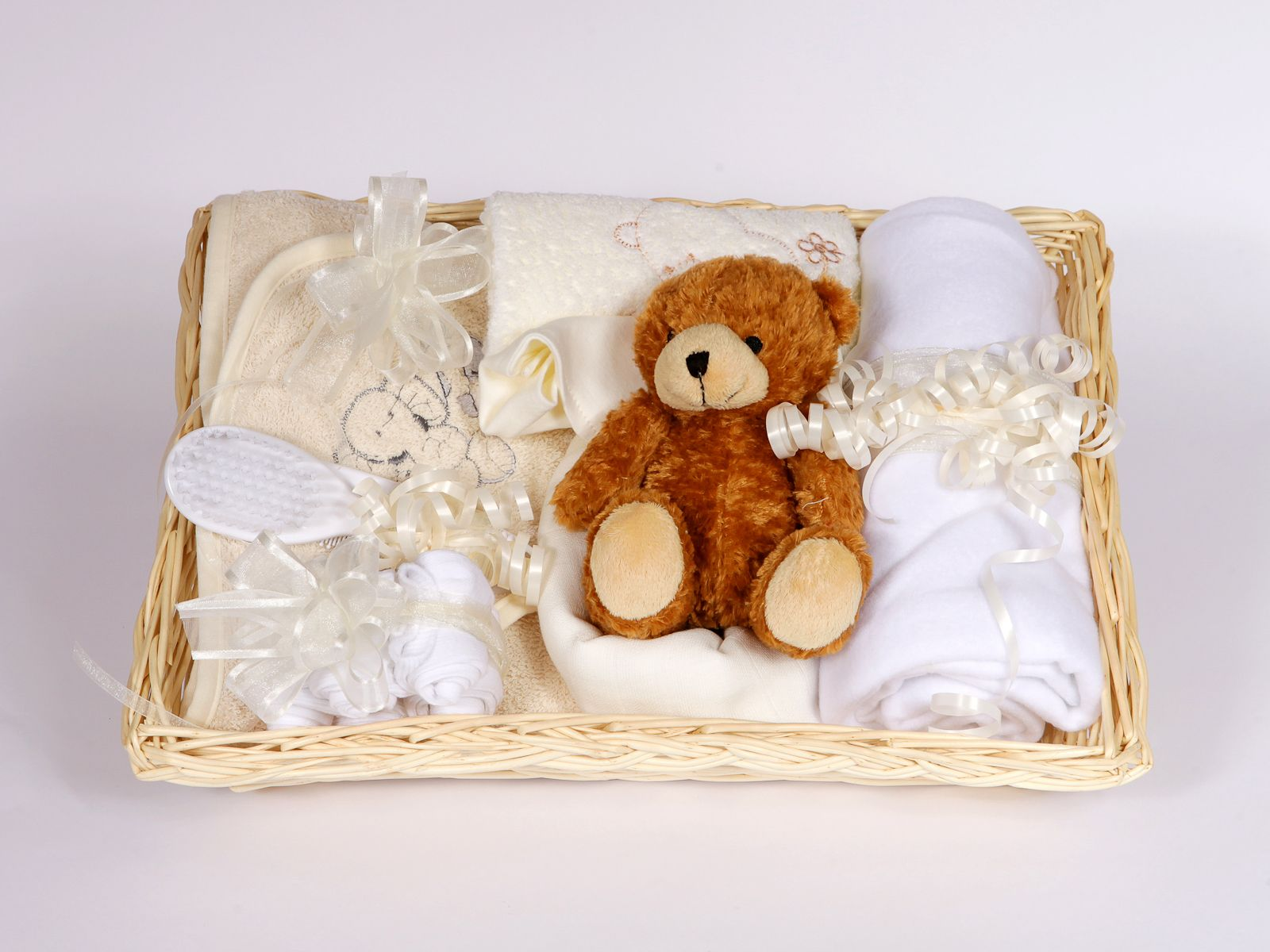 Gift Wrapped Cream Ideal Baby Shower Hamper 12 Essential Items