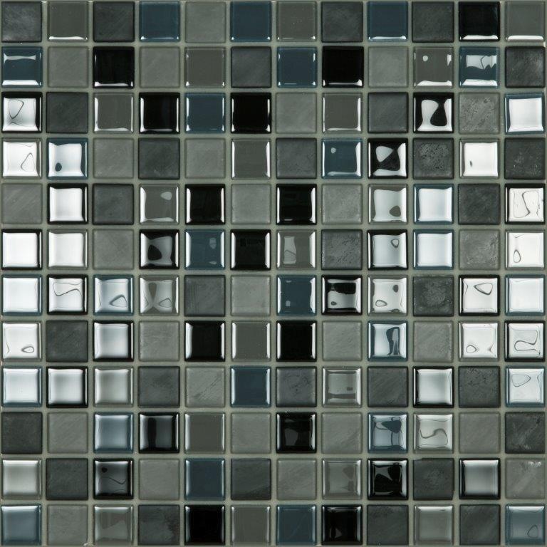 Mosaico enmallado autoadhesivo 30,5x30,5 vidrio mix 23 black   crp ...