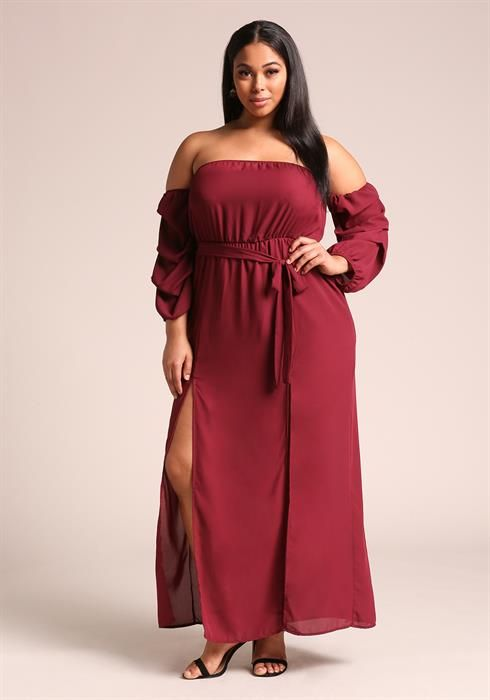 Plus Size Off Shoulder High Slit Maxi Dress Debshops Date Night