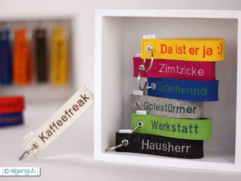 Schlüsselanhänger Wohnung aus Filz mit Namen beschriftet Anhänger Schlüssel