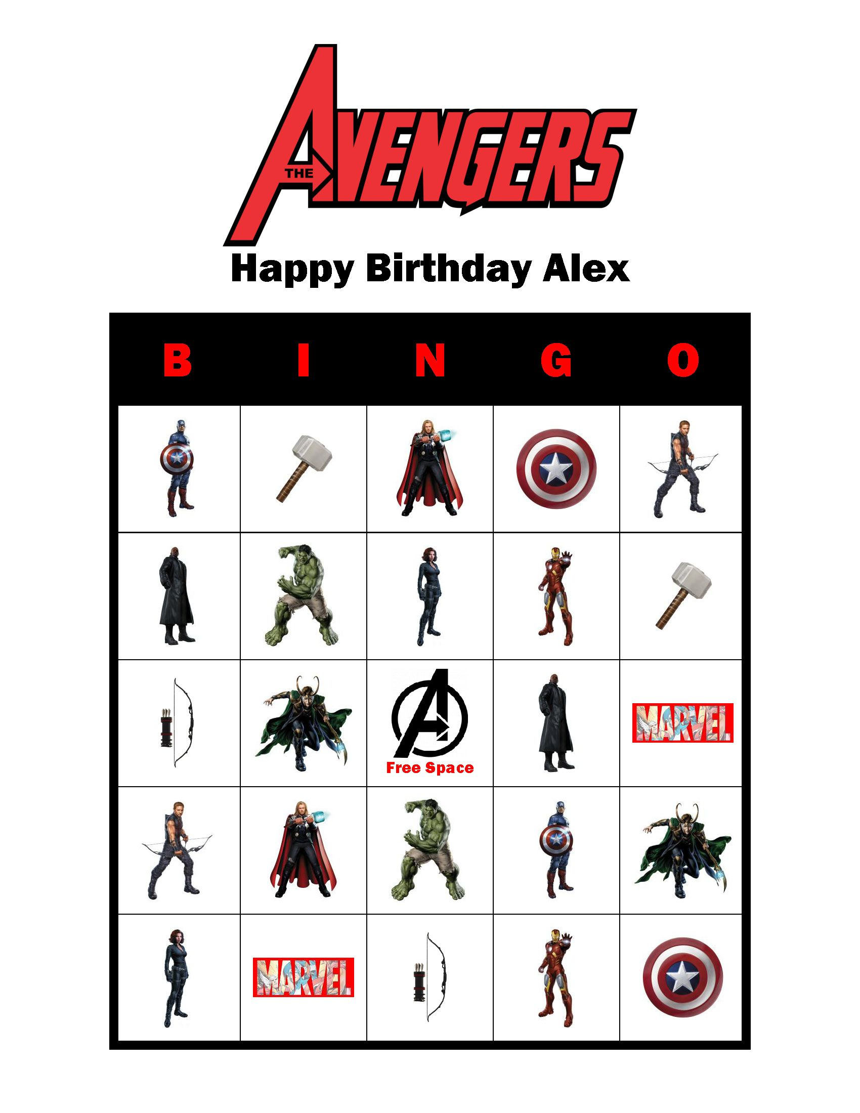 Avengers Birthday Party Personalized Bingo Cards Game Delivered By Email