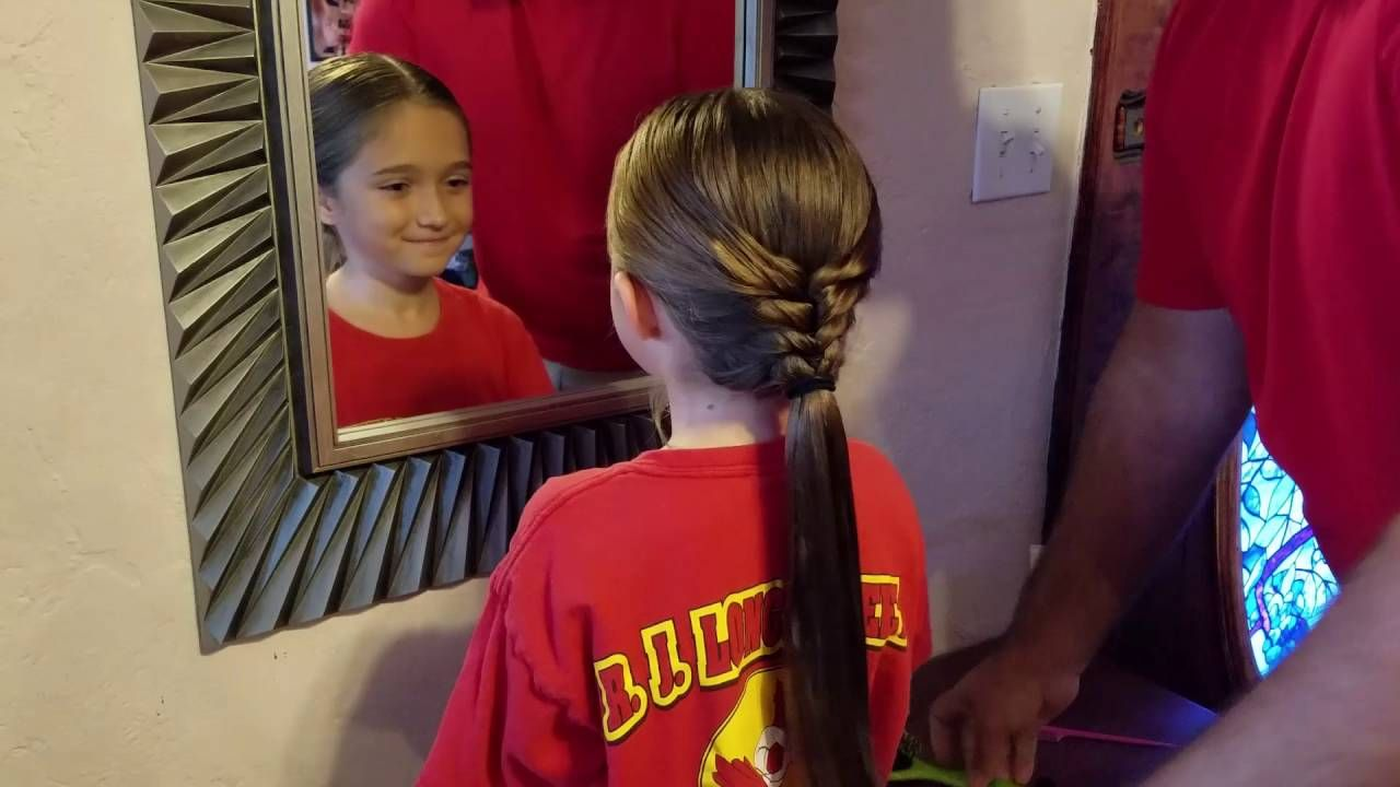 Pulled back bubble fishtail braid by daddy daughter hair factory