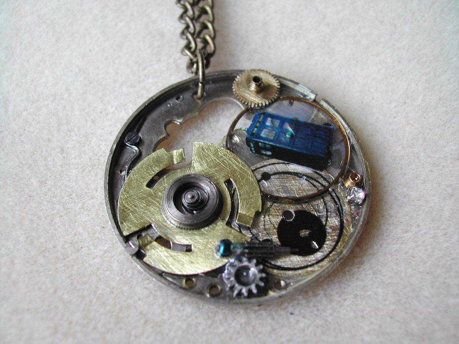 Doctor Who Steampunk Necklace The Tardis by TimeMachineJewelry, $28.00