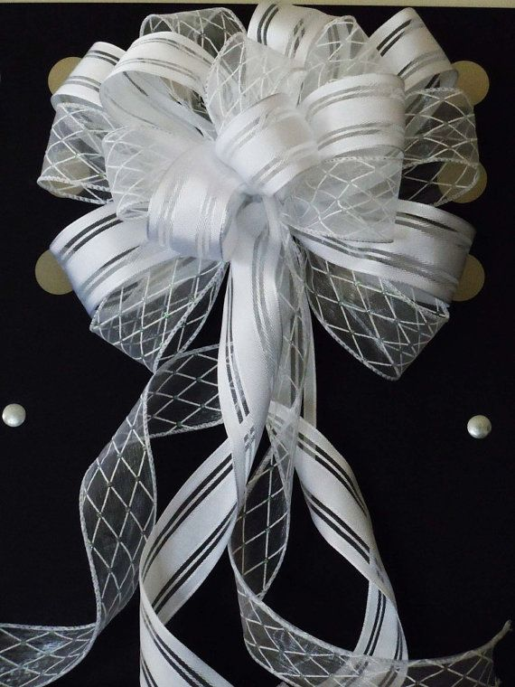 Pin By Trina Nkt On Wedding Pew Bows Bows For Decorations Pew Bows Wedding Wedding Chair Bows Wedding Bows