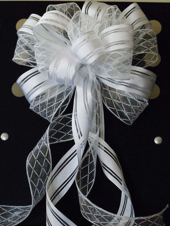 handmade white argyle shabby chic wedding pew bow