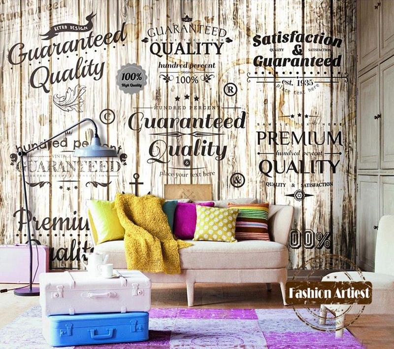 Ucuz Custom 3d Vintage Wallpaper Mural Wooden Board Trade Mark Letter Tv Sofa Bedroom Living Room Cafe Bar Restaurant Background Satn Kalite Duvar