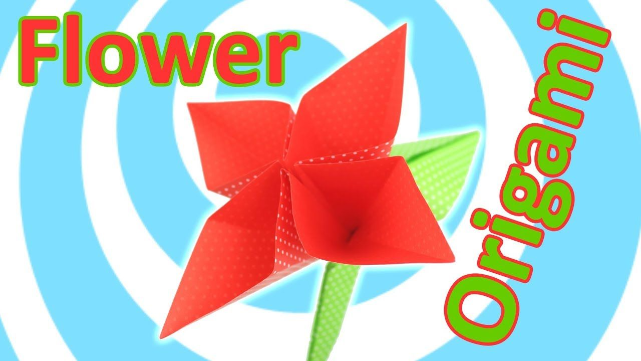 Easy Origami Flower With Stemtutorial For Kids Origami