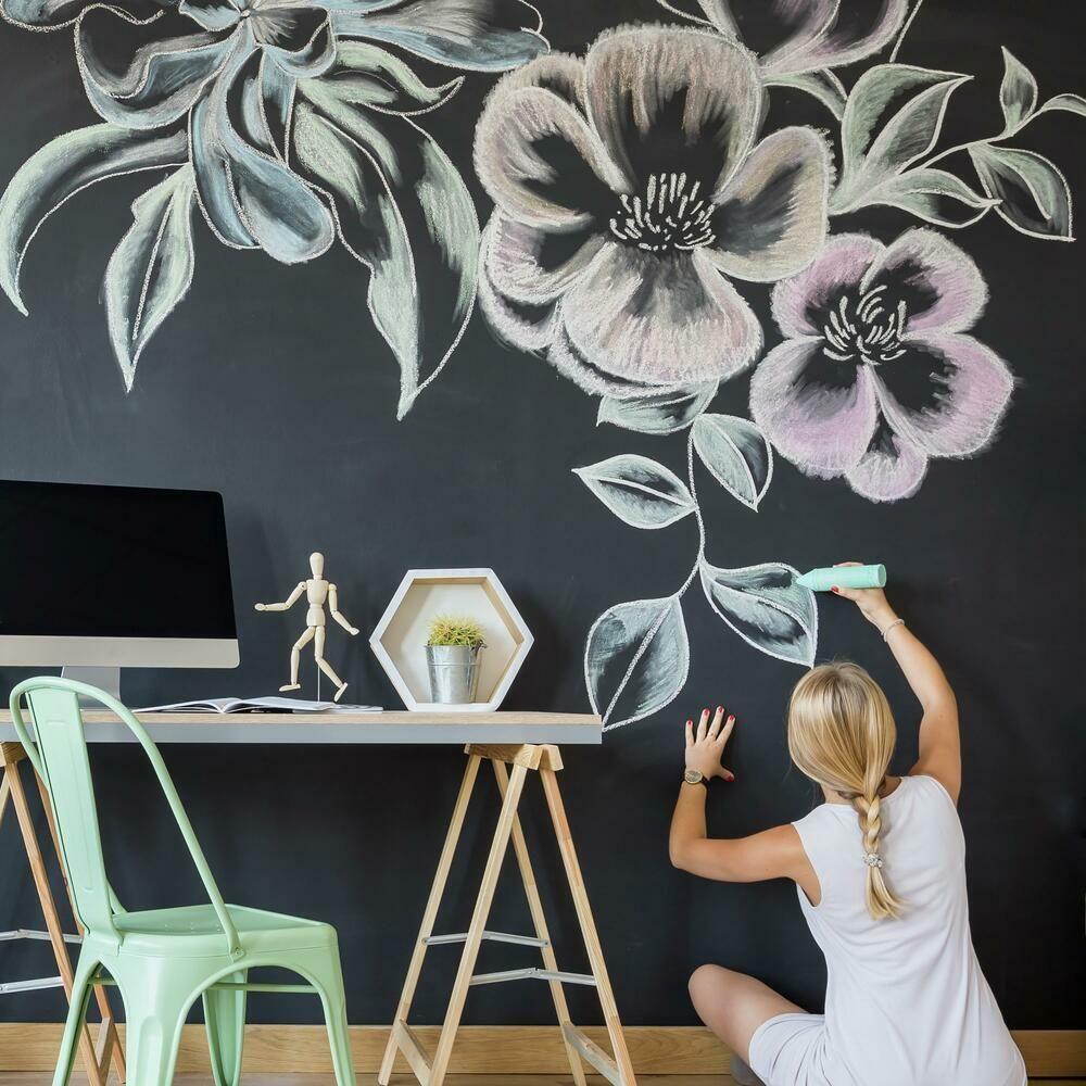 Chalkboard Peel And Stick Wallpaper In 2021 Chalkboard Wall Decal Chalkboard Wall Chalkboard Wall Bedroom