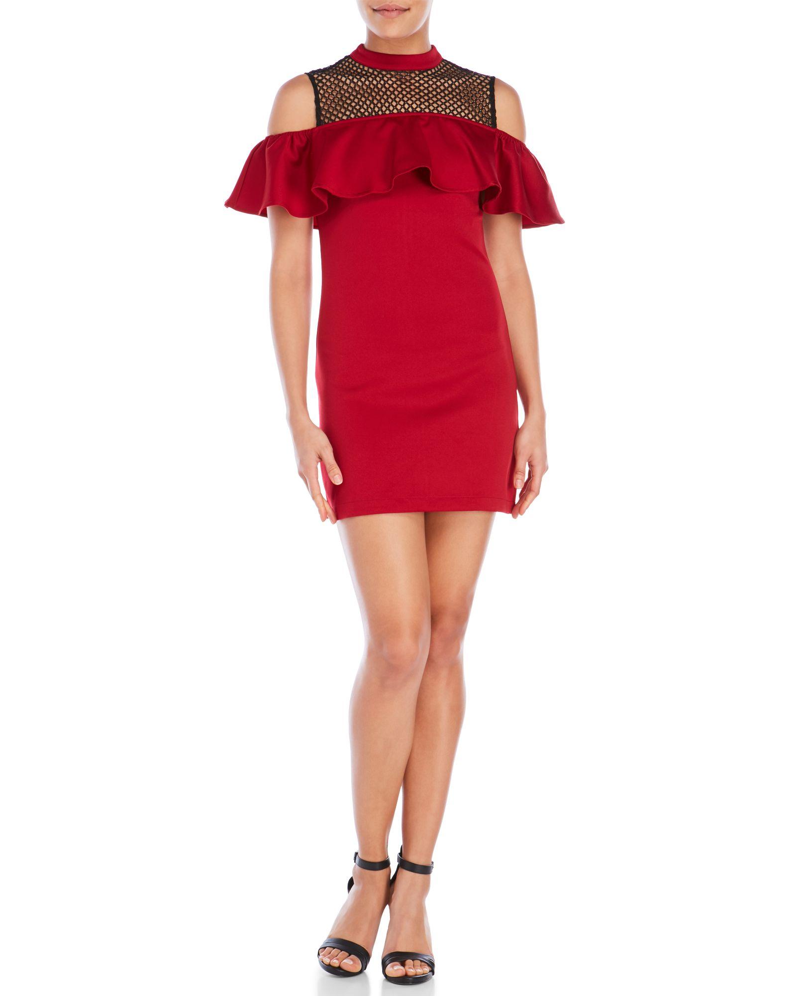 After Market Crochet Off-The-Shoulder Dress