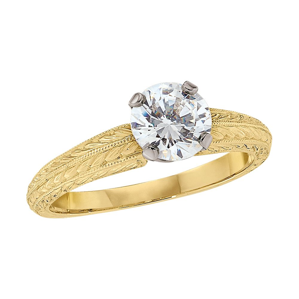 This hand engraved engagement ring is shown here in k yellow gold