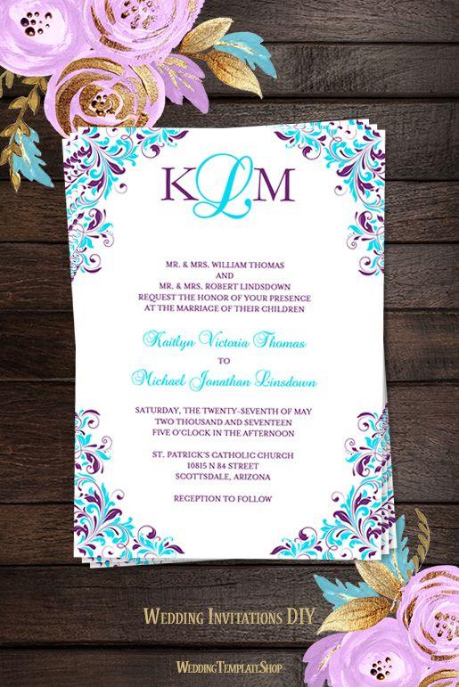 Kaitlyn Wedding Invitation Purple Turquoise