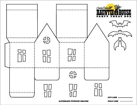 Paper House Template Haunted house luminary & party treat