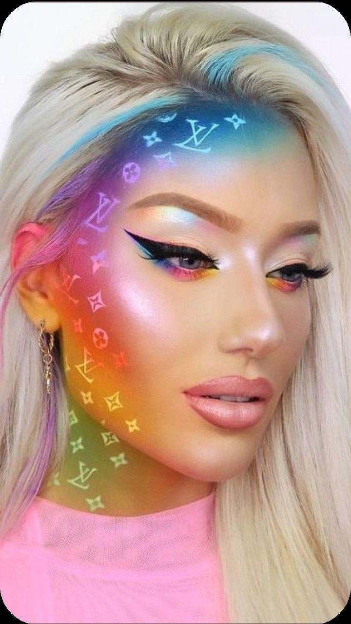 Luisvitton Rainbow Makeup Followme In 2020 Creative Makeup Looks Face Art Makeup Makeup Looks