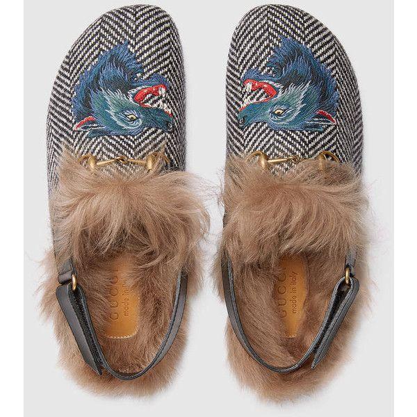 2d102a22a54 Gucci Horsebit Herringbone Slipper With Wolf Head (49