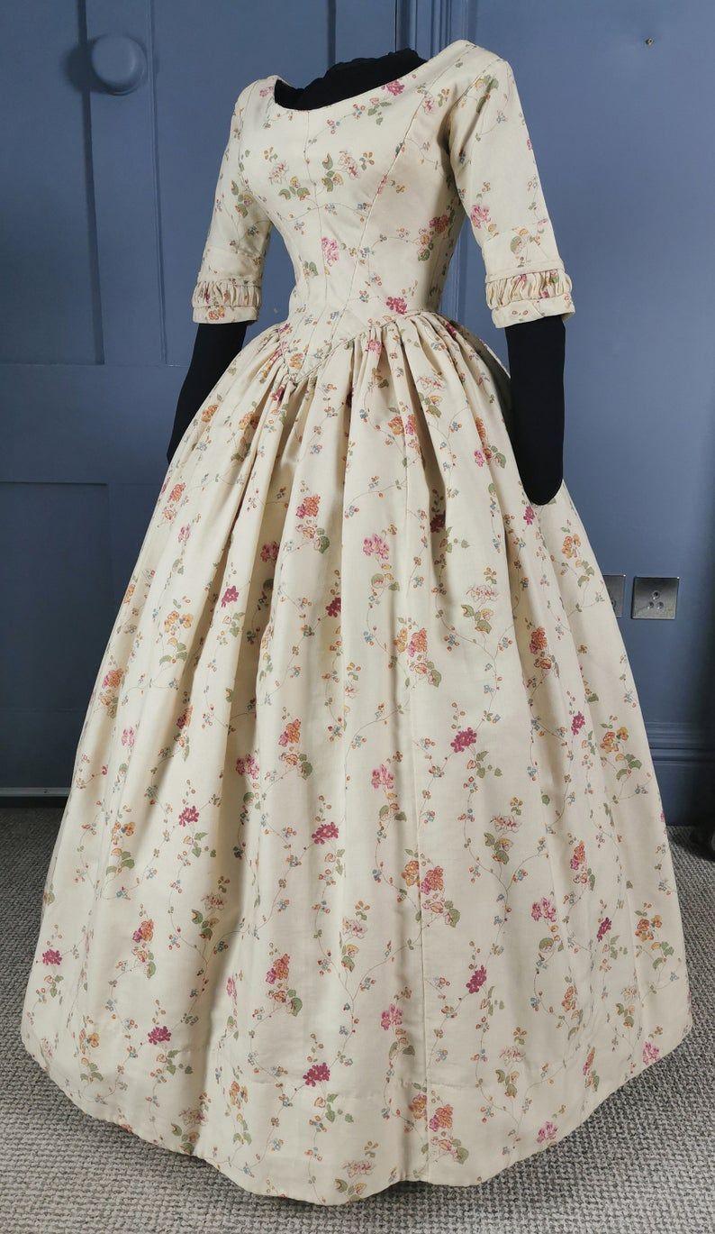 Almost Pristine 1840s Floral Print Dress Victorian Antique Fashion Victorian Dress Gown Victorian Era Dresses Fashion [ 1369 x 794 Pixel ]