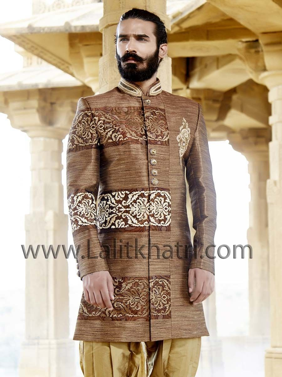Ravishing brown color khadi silk indo western having embroidery work