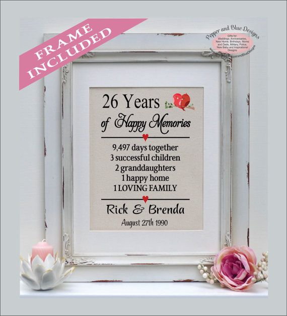 26th Anniversary 26 Years Married 26 Years By Pepperandbluedesigns