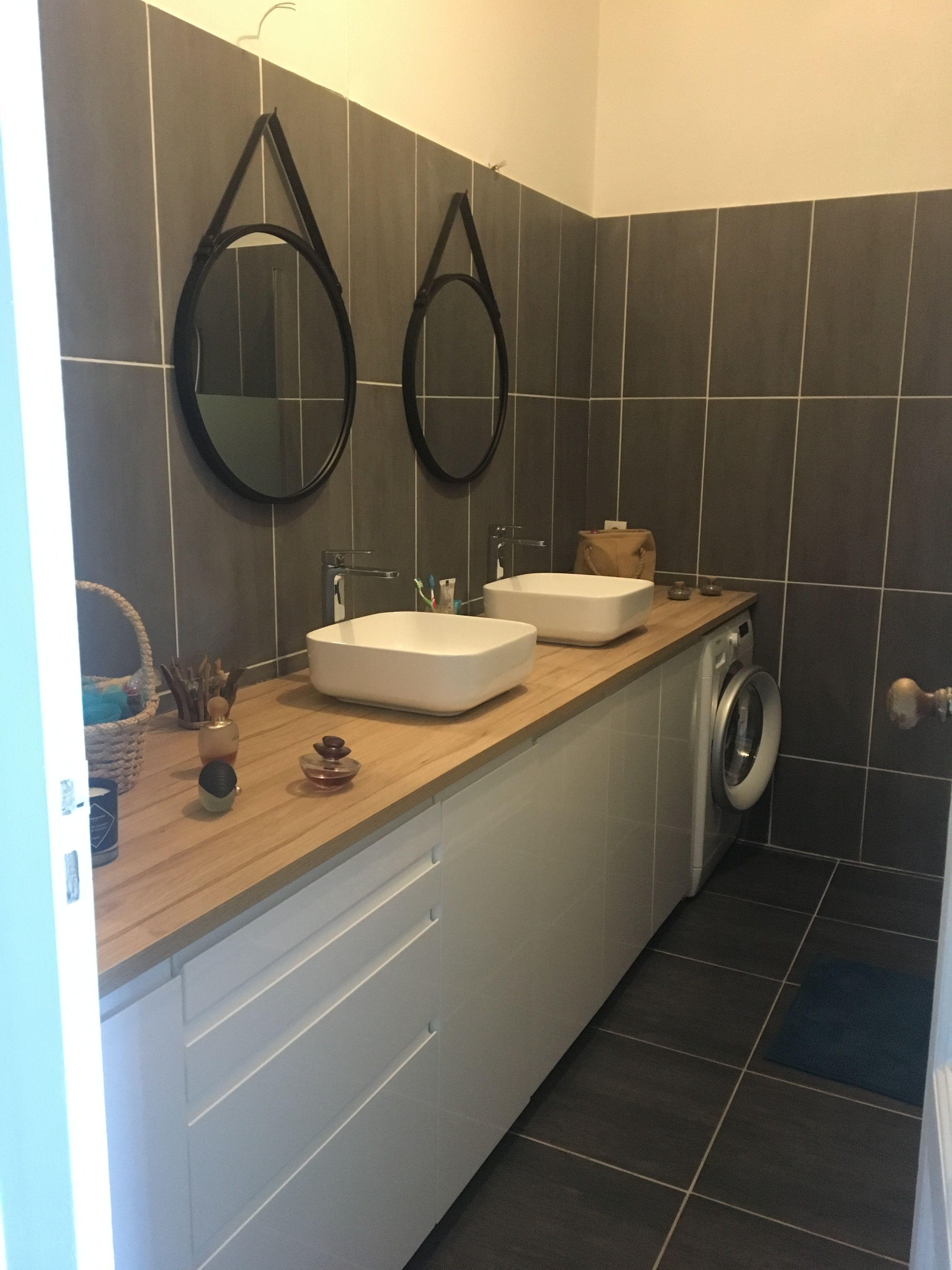 Salle de bain avec des meubles de cuisine Ikea  Meuble de cuisine