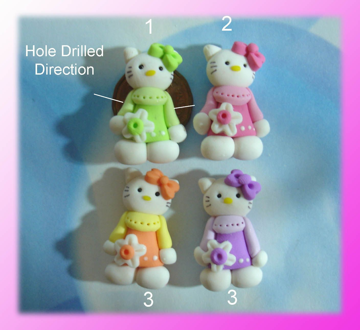 SALE Dress up Kitty Flower Polymer Clay Charm Bead Scrapbooking Embelishment Bow Center Pendant Cupcake Topper. $1.50, via Etsy.