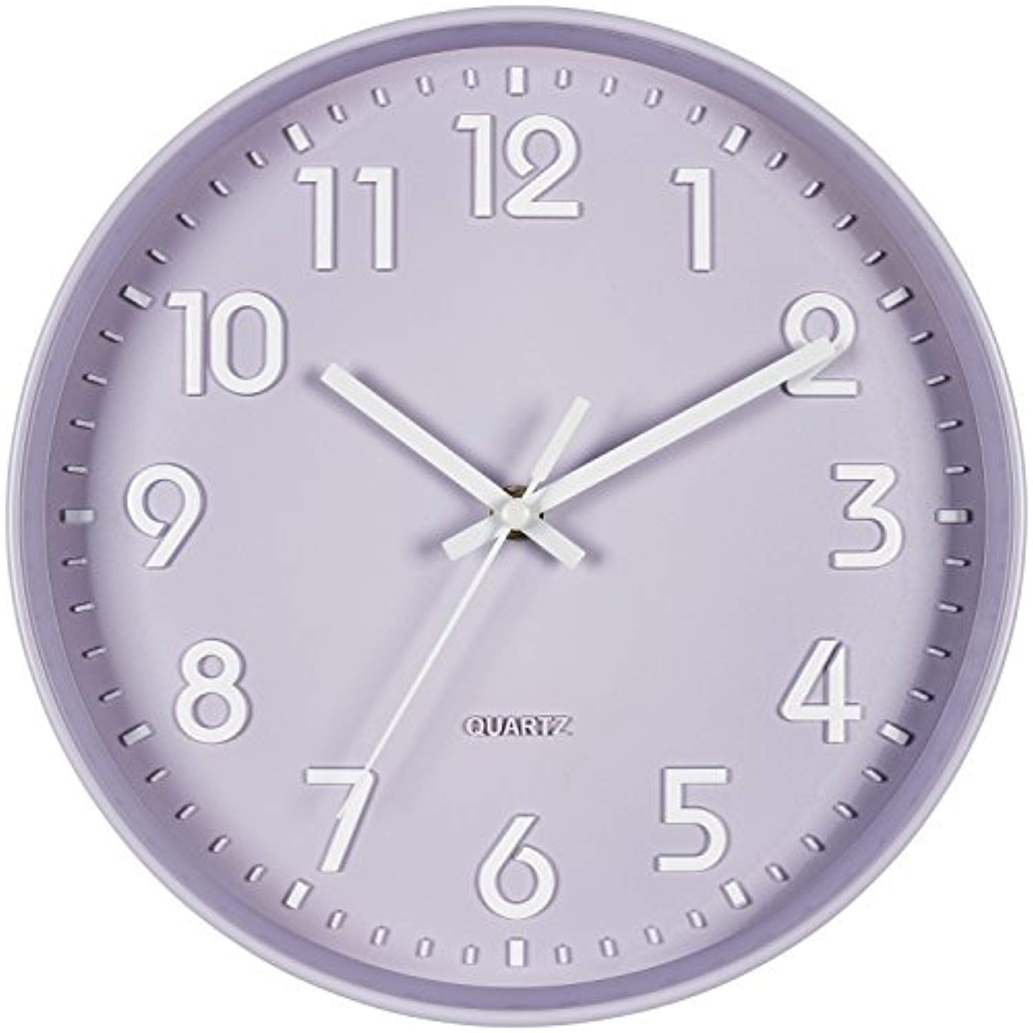Bernhard Products Purple Wall Clock 10 Inch Silent Non Ticking Quality Quartz 3d Numbers Battery Operated Round P Purple Wall Clocks Purple Walls Wall Clock