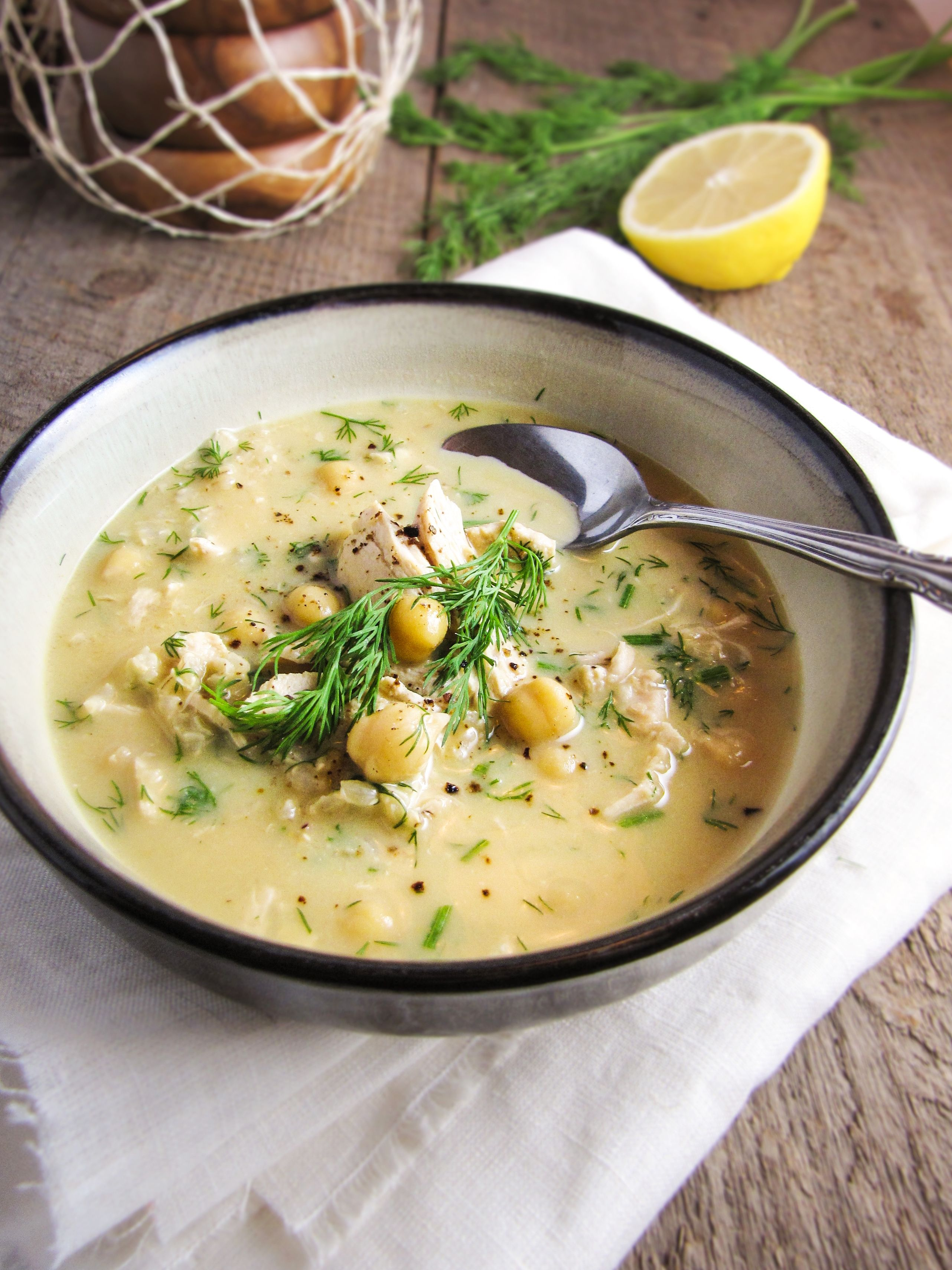 Greek Egg and Lemon Soup with Chicken, Brown Rice, and Chickpeas