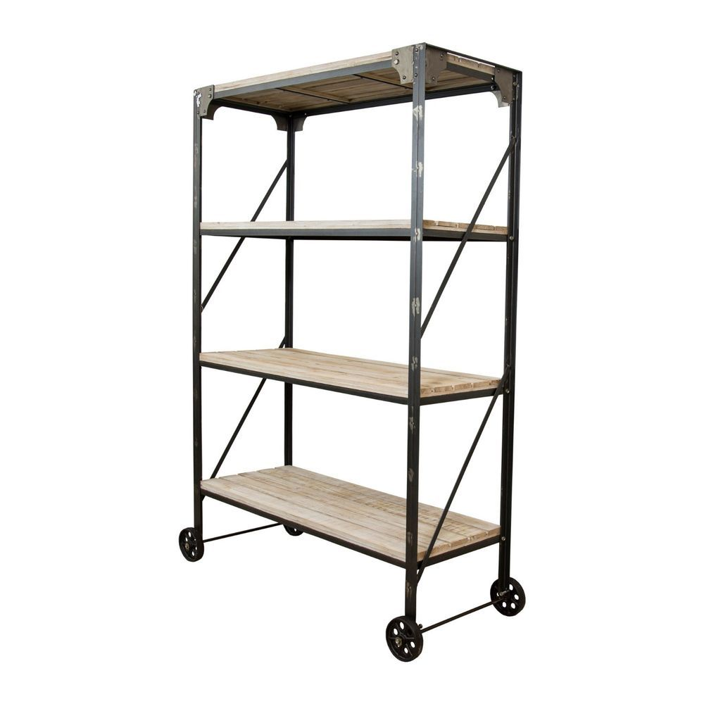 Large Industrial Style Metal Rack On Wheels With Wooden Shelves