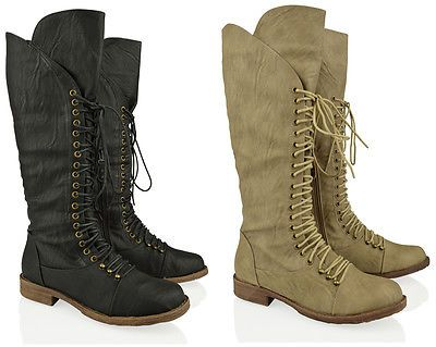 134a83d6db97 Bikers · WOMENS LADIES FLAT KNEE HIGH LOW LACE WIDE CALF RIDING BIKER MILITARY  BOOTS SIZE