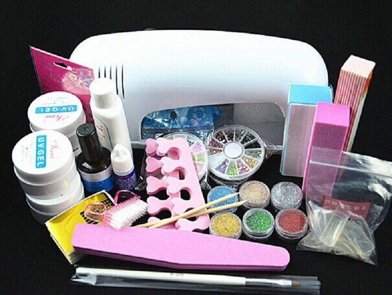 BTT-77 Professional Full Set UV Gel Kit Nail Art Set + 9W Curing UV ...
