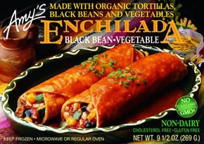 Amy's organic black bean vegetable enchilada - vegan - *160 calories* #vegancomfortfood, #delicious
