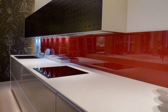 Credence Cuisine Verre Teinte · SolutionSupportRed GlassKitchen ...