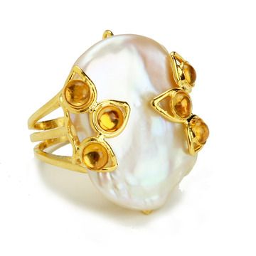 RING SET WITH WHITE FRESH WATER PEARL AND CITRINE CABOCHON