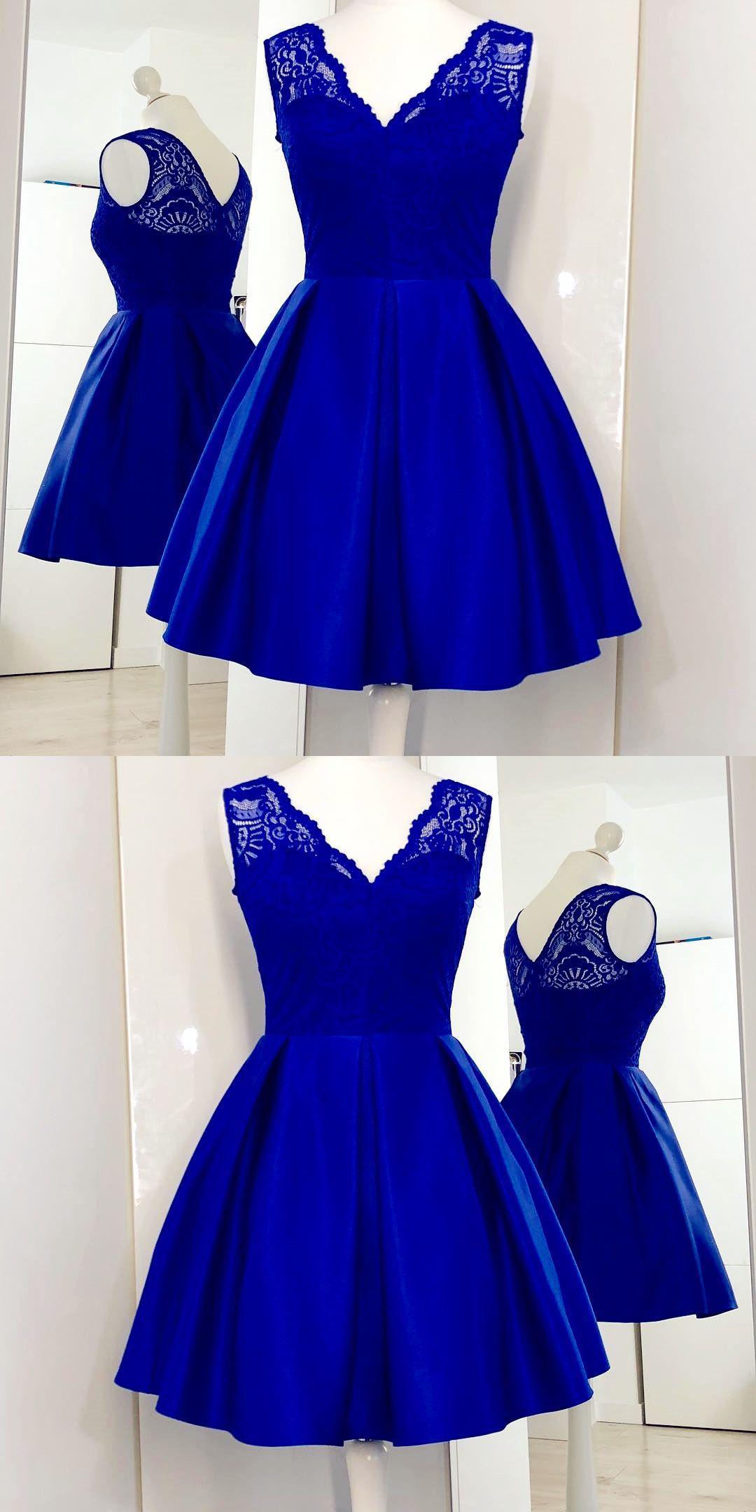 Royal Blue Satin Short Homecoming Dresses with Lace, Elegant