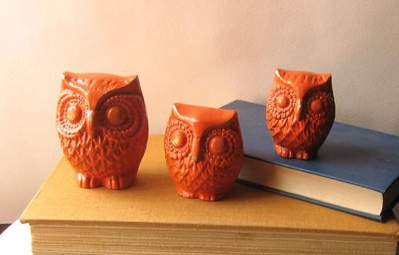 Rustic Orange Painted Brass Owl Figurines  Set of by happybdaytome,